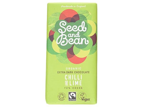 Org Seed & Bean  Extra Dark Choc Bar 72% - Chilli & Lime
