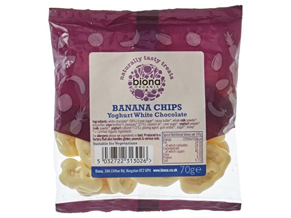 Biona  Yogurt & White Chocolate Covered Banana Chips