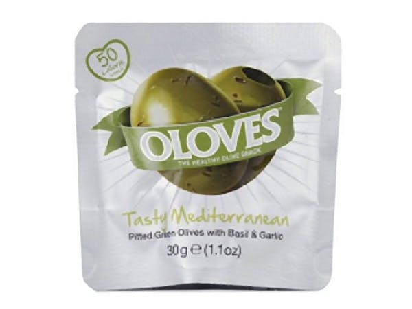 Oloves  Pitted Basil & Garlic Green Olives Snack