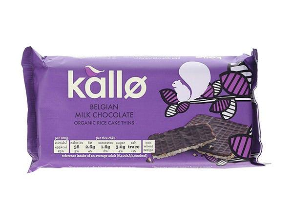 Kallo  Milk Chocolate Thins - Organic Rice Cakes