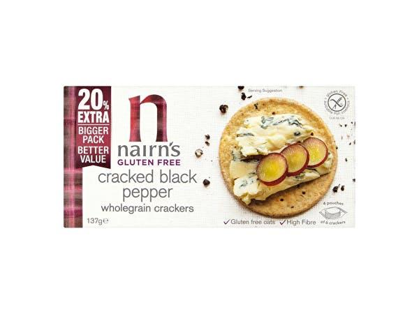 Nairns  Gluten Free Cracked Black Pepper Wholegrain Cracker